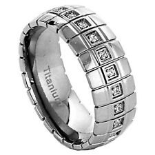 8mm Titanium Ring Clear Round Silver Band Cubic Zirconia Cz