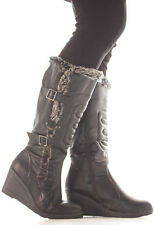 Ladies Wedge Shoes High Heel Wedges Wide Calf Leg Platform Knee Boots Size Fur