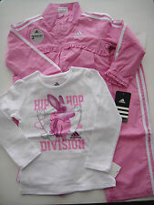 ADIDAS NWT Girl 3PC WIND Track Suit Jacket Top Shirt Pant Pink Warm Up 12 18 24