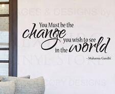 Wall Decal Sticker Quote Vinyl Art Lettering You Must Be the Change Gandhi IN47