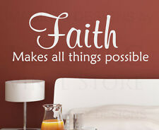 Wall Quote Decal Sticker Vinyl Faith Makes All Things Possible God Religious R29