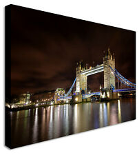 Large London Tower Bridge Night - Canvas Wall Art Pictures For Home Interiors