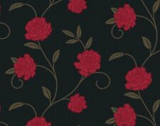 Feature Wallpaper Rose Trail Black Red Chocolate Teal