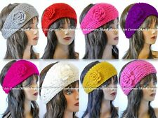 FASHION KNIT FLOWERED CROCHET HEADBAND W/ BUTTONS (6 DIFFERENT COLORS)