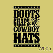 Boots Chaps Cowboy Hats Cute Western Trendy Vinyl Vynil Wall Art Stickers