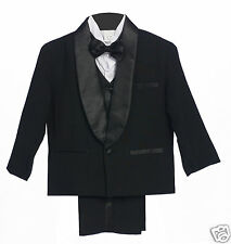 Baby Toddler & Boy Wedding Party Black Formal Tuxedo Suit sz: S,L,XL,2T-4T,5-18