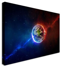 Good Vs Evil Earth SciFi Red/Blue Canvas Prints Wall Art Picture Large Any Size