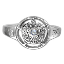 Sterling Silver Crescent Moon Pentacle Pentagram Ring Moonstone - Dryad Design