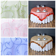 """72x72"""" Embroidered Sheer Organza Table Overlay Unique Wedding Party Decorations"""