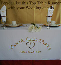 Personalised Wedding Table Runner Table Cloth + Matching Personalised Napkins