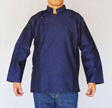TRADITIONAL TIBETAN SHIRT FOR MEN OR WOMEN COTTON NAVY BLUE