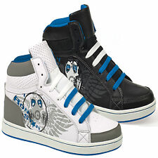 NEW MENS HIGH HI TOPS TRAINERS BOYS CASUAL ANKLE SCHOOL BOOTS SHOES SIZE 7-12 UK