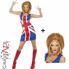 Ginger Power Girls Spice Pop Star 90s Union Jack Fancy Dress Costume ADD WIG