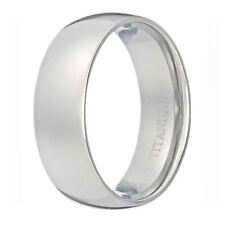 Titanium Band Silver White Polish Domed Comfort Fit Classic Men's Wedding Band