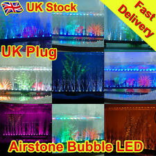 Aquarium Fish Tank Airstone Bubble LED Light Blue White Purple Yellow Multi - UK