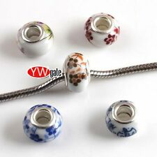 Free Shipping 25Pcs Ceramic Soft Porcelain European Bead Fit Charm Bracelet