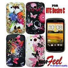 VARIES BUTTERFLYS COLOUR HARD PHONE CASE COVER FOR HTC DESIRE C MOBILE PHONE