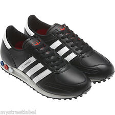 ADIDAS MENS LA TRAINER UK SIZE 7 11 12 BLACK/WHITE TRAINER SHOES LEATHER NEW