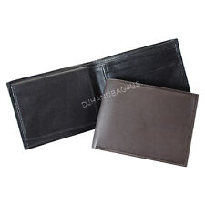 Men's Soft Genuine Leather Slim Bi-Fold Wallet with 2 Bill Compartments New #5A