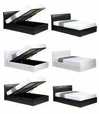 3ft 4ft 4ft6 5ft Ottoman Storage Faux Leather Bed Black Brown White + Mattress