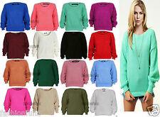 NEW WOMENS LADIES BAGGY LONG SLEEVE CHUNKY KNITTED OVERSIZED JUMPER TOP 8-14