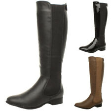 WOMENS LADIES KNEE FLAT LOW HEEL ZIP WIDE CALF STRETCH RIDING BOOTS SIZE