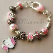Pink Hello Kitty Princess European Charm Bracelet With Pink Rhinestone Beads