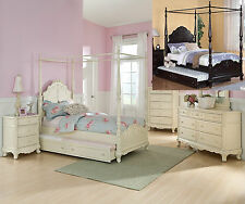 Cinderella Dark Cherry,  White Ecru Painted Girls Twin, Full Canopy Bed Trundle