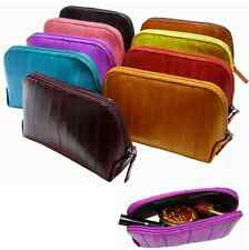 Luxury Genuine Eel skin Leather Cosmetic Makeup Case Bag Wallet Pouch 10 Colors