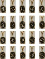 Damascene Gold Oval Initial Pendant on Chain Necklace by Midas of Toledo Spain