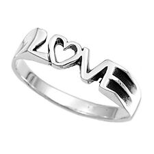 Love Text - Love Ring Silver - Commitment Purity Ring Promise Ring - Womens