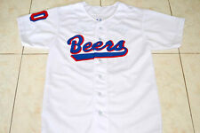 CUSTOM NAME AND # BASEketball BEERS MOVIE BUTTON DOWN JERSEY WHITE- ANY SIZE