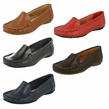 Ladies Black / Red / Brown Leather Slip On Spot on Shoes F8876
