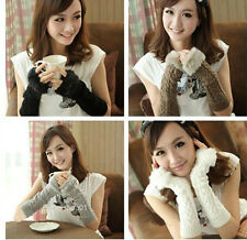 Women Hotsale Winter Warm Knit Fuax Furs Women Girls Magic Gloves
