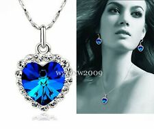 Free Transit  Blue Ocean Heart 18k gold Necklace Ring Earrings plated 01N0