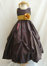TRUFFLE BROWN / GOLD BRIDESMAID WEDDING PAGEANT PARTY RECITAL FLOWER GIRL DRESS