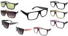 Black Red Flat Top Retro Geek Clear Lens Nerd Glasses wayfarer Thick Frame 80's
