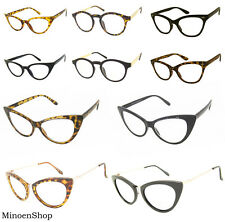 Hot Tip Pointed Inspired Fashion Sexy Mod Chic Cat Eye Clear Lens Glasses VTG