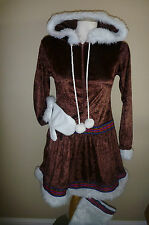 Womens Brown ESKIMO KISSES costume dress Size S M L Hooded mitten Boot Covers