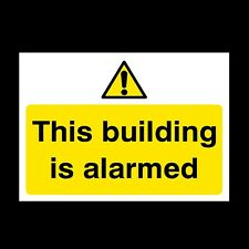 THIS BUILDING IS ALARMED SIGN & STICKER ALL SIZES! ALL MATERIALS! FREE P+P (S50)
