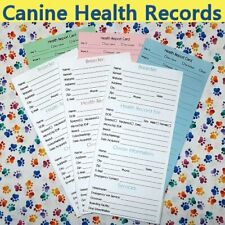 10 Pack Canine / Puppy / Dog Vaccine Health Records / Reports BLUE-GREEN-PINK