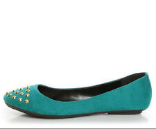 BALLET FLATS GLORIA-S TEAL FAUX SUEDE STUDDED SPIKE CAP-TOE CITY CLASSIFIED SHOE