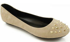 Spike Studded Ballet Flats Slip On Faux Suede Cap Toe Sandal Taupe Oxford Round