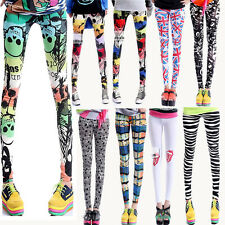 Ladies Leggings SKULL FLAG ROLLING STONES pattern colour Tight Trousers Pants