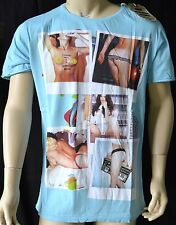 The Cuckoos Nest Mens PAST TIMES Pastel Blue cotton tee shirt RRP £30 S,M,L,XL