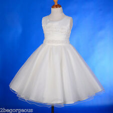 Beaded Satin Formal Dress Wedding Flower Girl Bridesmaid Ivory Child 2y-11y #229