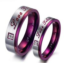 One Pair SS Couple Rings Rhinestone CZ purple wedding Band Promise Love gift 297