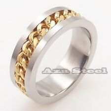 Men's Silver Gold Chain Center Stainless Steel Ring Size 7,8,9,10,11,12,13,14,15