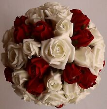 Ivory Cottage Ruby Red Rose Flower Wedding  Crystal  Brides Bridesmaids Bouquet