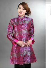 wholesale pink long chinese silk embroider women's jacket/coat S M L XL XXL 3XL